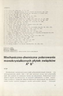 Mechaniczno-chemiczne polerowanie monokrystalicznych płytek związków AIIIBV = Mechanical-chemical polishing of monocrystallic wafers of AIIIBV compounds