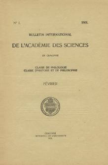Anzeiger der Akademie der Wissenschaften in Krakau, Philologische Klasse, Historisch-Philosophische Klasse. (1901) No. 2 Février