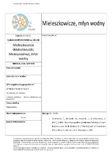 Mieleszkowicze (Meleshkovichi,Мялешкавічы), watermill