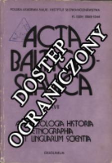 Acta Baltico-Slavica T. 17 (1987)