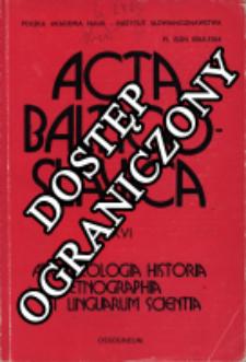 Acta Baltico-Slavica T. 16 (1984)