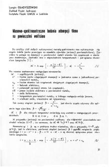 Masowo-spektrometryczne badania adsorpcji tlenu na powierzchni wolframu = Mass-spectrometric investigations of oxygen adsorption of tungsten surface
