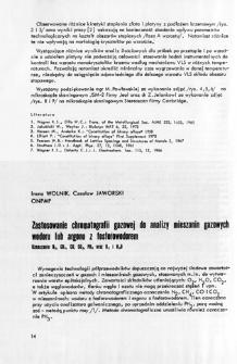 Zastosowanie chromatografii gazowej do analizy mieszanin gazowych wodoru lub argonu z fosforowodorem = Gas chramotography use in the analysis of hydrogen or argon gas mixtures with phosphid. Determination of N2, CH4, CO, CO2, PH3 as well as O2 and H2O