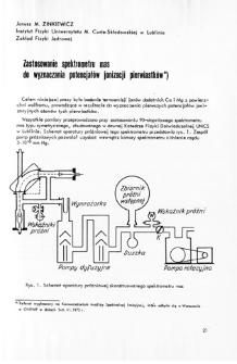 Zastosowanie spektrometru mas do wyznaczania potencjałów jonizacji pierwiastków = Use of the mass spectrometer for determination of the element ionization potentials