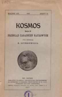 Kosmos. Seria B, Przegląd Zagadnień Naukowych, Zeszyt IV, Rocznik LXII