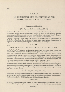 On the nature and properties of the Aconic Function of six Vectors (1851)