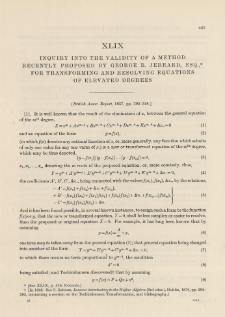 Inquiry into the validity of a Method recently proposed by George B. Jerrard, Esq., for Transforming and Resolving Equations of Elevated Degrees (1836)