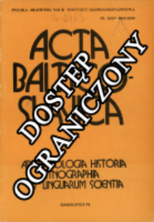 Acta Baltico-Slavica T. 19 (1990)