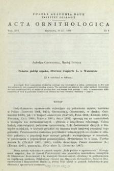 Pokarm piskląt szpaka, Sturnus vulgaris L. w Warszawie