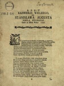 List Kazimierza Wielkiego Do Stanisława Augusta Krola Polskiego Dnia 8. Maia Roku 1777