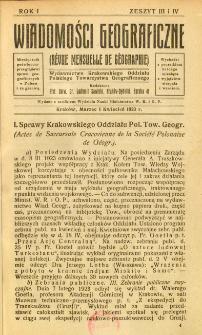 Wiadomości Geograficzne R. 1 z. 3-4 (1923)