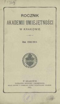 Rocznik Akademii Umiejętności w Krakowie, Rok 1910/1911