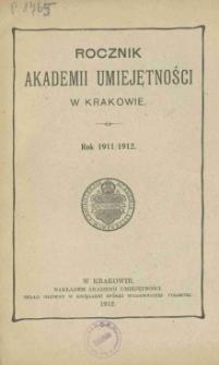 Rocznik Akademii Umiejętności w Krakowie, Rok 1911/1912