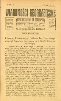 Wiadomości Geograficzne R. 2 z. 10 (1924)