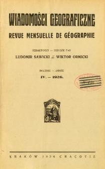 Wiadomości Geograficzne R. 4 (1926), Spis treści
