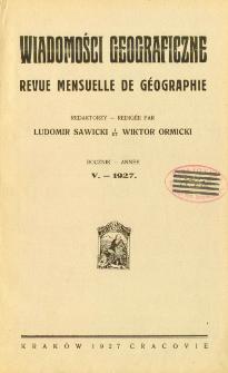 Wiadomości Geograficzne R. 5 (1927), Spis treści