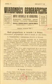 Wiadomości Geograficzne R. 5 z. 4 (1927)
