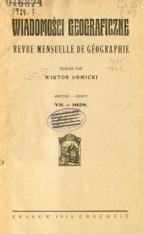 Wiadomości Geograficzne R. 7 (1929), Spis treści