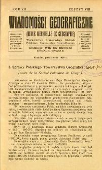 Wiadomości Geograficzne R. 7 z. 8 (1929)
