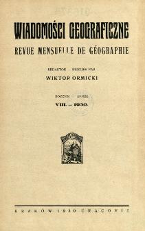 Wiadomości Geograficzne R. 8 (1930), Spis treści