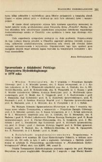 Sprawozdanie z działalności Polskiego Towarzystwa Hydrobiologicznego w 1979 r.