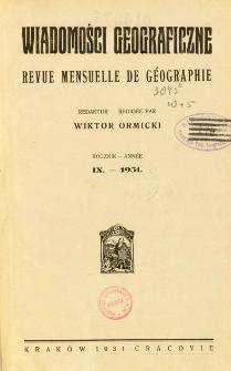 Wiadomości Geograficzne R. 9 (1931), Spis treści