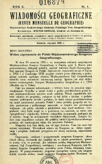Wiadomości Geograficzne R. 10 (1932), Spis treści