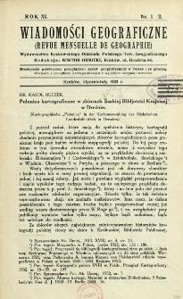Wiadomości Geograficzne R. 11 (1933), Spis treści