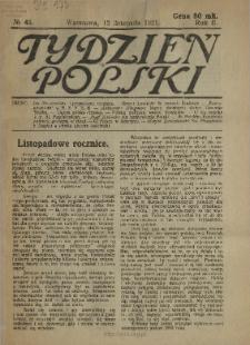 Tydzień Polski : tygodnik polityczno-społeczny : wychodzi w sobotę 1921 N.45