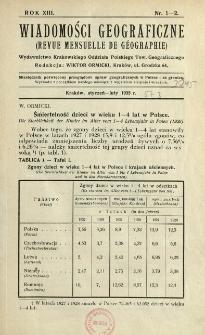 Wiadomości Geograficzne R. 13 (1935), Spis treści