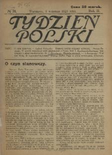Tydzień Polski : tygodnik polityczno-społeczny : wychodzi w sobotę 1921 N.35