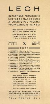 Lech : czasopismo poświęcone kulturze narodowej, miłośnictwu piękna, propagandzie książki 1937 N.1