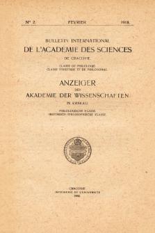 Anzeiger der Akademie der Wissenschaften in Krakau, Philologische Klasse, Historisch-Philosophische Klasse. (1908) No. 2 Février