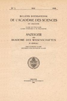 Anzeiger der Akademie der Wissenschaften in Krakau, Philologische Klasse, Historisch-Philosophische Klasse. (1908) No. 5 Mai