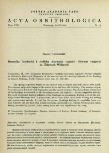 Dynamika liczebności i siedliska żerowania szpaków Sturnus vulgaris na Żuławach Wiślanych