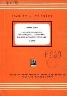 Procedury numeryczne dla rozwiązania uogólnionego zagadnienia własnego metodą QZ