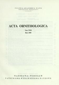Acta Ornithologica ; t. 17 - Spis treści