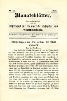 Monatsblätter Jhrg. 16, H. 11 (1902)