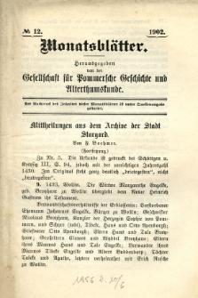 Monatsblätter Jhrg. 16, H. 12 (1902)