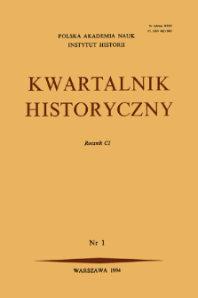 Kwartalnik Historyczny R. 101 nr 1 (1994), Title pages, Contents