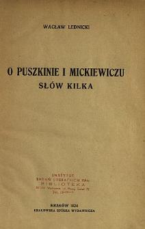 O Puszkinie i Mickiewiczu słów kilka