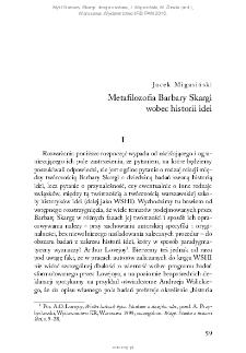 Metafilozofia Barbary Skargi wobec historii idei
