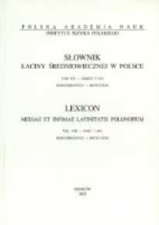 Słownik łaciny średniowiecznej w Polsce. T. 8 z. 3 (65), Remunerativus - Reticulum