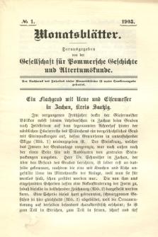 Monatsblätter Jhrg. 17, H. 1 (1903)