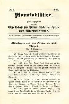 Monatsblätter Jhrg. 17, H. 4 (1903)
