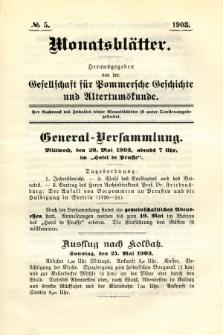 Monatsblätter Jhrg. 17, H. 5 (1903)