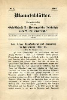 Monatsblätter Jhrg. 17, H. 9 (1903)