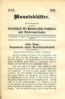 Monatsblätter Jhrg. 17, H. 7/8 (1903)