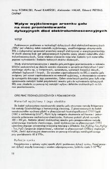 Wpływ wyjściowego arsenku galu na moc promieniowania dyfuzyjnych diod elektroluminescencyjnych