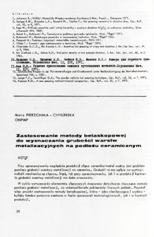 Zastosowanie metody betaskopowej do wyznaczania grubości warstw metalizacyjnych na podłożu ceramicznym = The application of radioactive method to thickness measurement of metalizing films on ceramic substrates